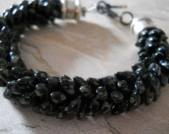 "Kumihimo Bracelet, Long Magatama Beads in Shades of Black; ""Dragon Scale"""