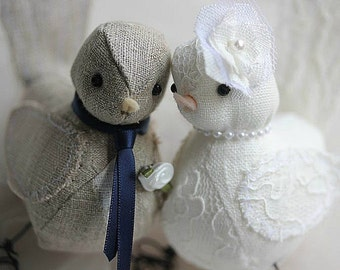 Love Birds Wedding  Cake Topper- Light Grey and Ivory linen - Wedding Cake Topper Love Birds - Made to Order