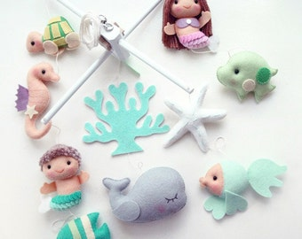 Free US Ship Mermaid Girl or Boy with Under the Sea Fish, Musical Baby Mobile for Nautical Room, Ocean Theme Nursery and Children Room Decor