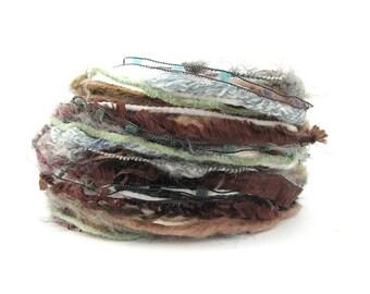 Creative Yarn Variety Pack, Hibernation, 30metres cut lengths, white grey brown, fancy textured wool, mixed fibers
