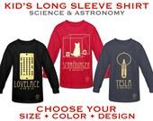 Kid's Long Sleeve Science T-shirt, Childrens Astronomy Shirt, Boys Geek Tshirt, Girls Scientist Clothing, Geeky Shirt, Rock Star Scientist