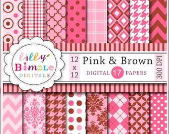 80% off Pink and Brown digital papers scrapbooking, damask, houndstooth, quatrefoil, plaid Instant Download