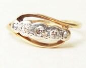 Antique Diamond Eternity Ring, 1900's Victorian Diamond, Platinum & 18k Gold Engagement Ring Approx Size 4.5 / 4.75