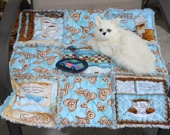 Cat Blanket, Cat Quilt, Blue And Brown Cat Blanket, Colorado Catnip Bed, Cat Bed, Catnip Blanket, Catnip Mat, Pet Mat, Small Dog Bed
