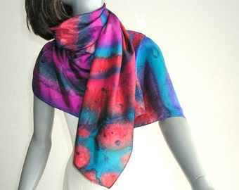 Hand Painted Silk Large Long Scarf Wrap Multicolor Gem Colors, One of a Kind Jossiani Silk Creation.