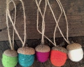 Set of 5- Needle felted acorn ornaments - Confetti - Wool Felt Spring Decor - Party Favor