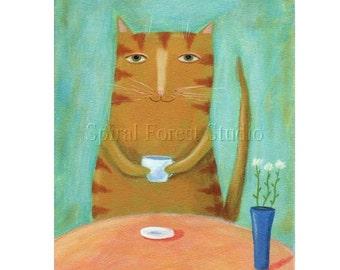 Whimsical Cat Art, Cat Print, Orange Tabby, Cat Illustration, Cute Print, Art for Children, Nursery Wall Art, Cute Picture, Fun Artwork