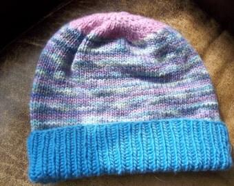 Hand knit knitted hand dyed merino wool Malabrigo watch cap hat beanie women large blue pink lilac purple mint chapeaux