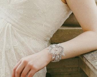 Wedding Cuff, Appliqué with Rhinestone & Pearl, Cheryl