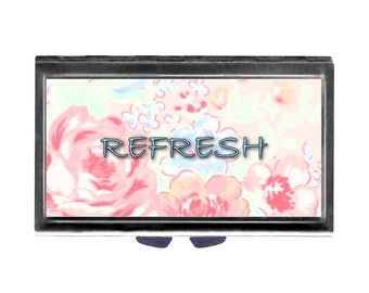 Refresh Blue Font Pink Roses Pill Case with Mirror pill box 3 sections  shabby cottage chic