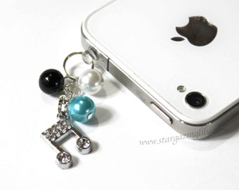 Cell Phone Charm Dust Plug. CUSTOMIZABLE You choose the charm and pearl colors.