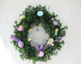 Boxwood Easter Wreath, Front Door Easter Wreath, Spring Wreath, Easter Decor for Front Door, Easter Egg Wreath, Boxwood Wreath