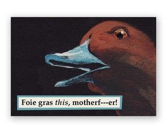 Foie Gras Magnet - Bird - Humor - Duck - Goose - Vegetarian - Gift - Stocking Stuffer