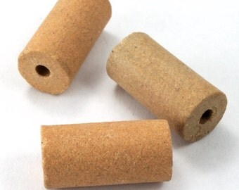 10mm x 20mm Terra Cotta Clay Tube Bead (4 Pcs) #3215