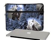 SALE 13 inch Laptop Case Wolf howling Moon Macbook Air 13 Sleeve, Unisex Laptop Bag men women ,  Macbook Pro / Air / Retina, blue brown RTS