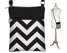 SALE Small Cross Body Purse Black Chevron Crossbody Bag Sling Shoulder Bag Fits eReaders black white RTS