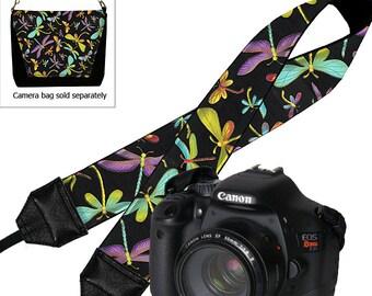 Camera Neck Strap Dragonfly Dslr Camera Strap SLR Padded Camera Strap Nikon Canon purple blue black yellow pink MTO