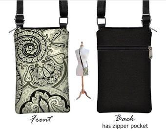 iPhone 7 / Plus  Case Mini Crossbody Bag , Paisley Cell Phone Holder  Small Cross Body Handbag, black white grey fabric RTS