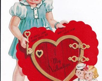 Vintage 1920's My Valentine Greetings Card (B7)