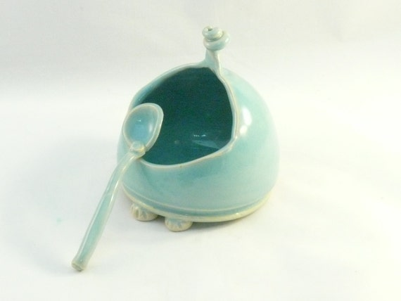 Ceramic Salt Box, Blue french salt pig -  sugar bowl with spoon - salt holder - Handmade Ceramic  Salt Cellar  - Salt Dish -  home chef