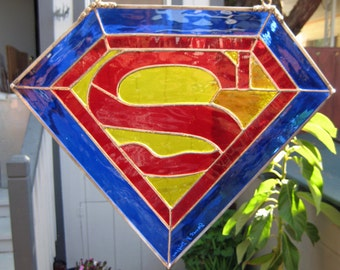 Superman Insignia, 15 x 12 inches, of Red, Royal Blue and Yellow Stained Glass, Suncatcher
