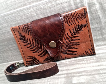 Leather Wallet, Phone Case with Wrist Strap & Zipper Pocket in Sienna Brown, Fern Pattern Print, * SALE * Coupon Codes
