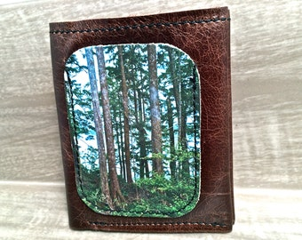 Leather Billfold Wallet (Zipper Pocket) West Coast Forest Digital Print, Brown Leather Men's Style * SALE * Coupon Codes