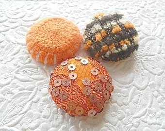 3 orange buttons, fabric buttons, covered buttons, textured buttons, 1.5 inch button, size 60 buttons