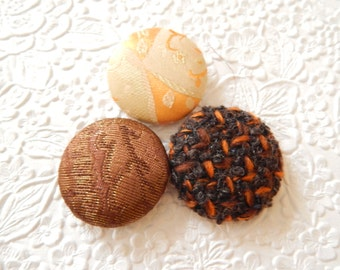 Orange buttons, wool button, fabric buttons, size 60 buttons, set of 3 buttons