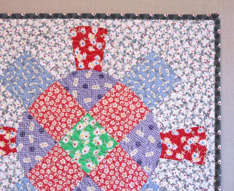 Large Quilted Pillow Sham Wagon Wheel Feedsack Fabrics