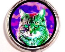 Rave Cat Pill Box Case Pillbox Psychedelic Kitty Hippie Music Festival Pop Art Animal Neon
