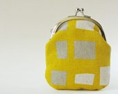 Business card holder, coin purse, change purse - squares on mustard yellow, geometric, simple, modern kiss lock pouch