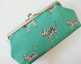 Clutch purse, tigers on aqua green, handmade purse, green, kiss lock purse, makeup bag, sea green jade green