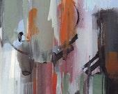 Art Print Abstract Modern Orange Green by David Lloyd