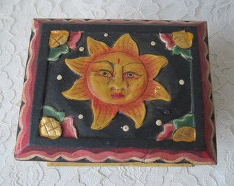 Vintage Painted Carved Wooden Box with Sun Moon & Yin Yang Symbol Made in Indonesia