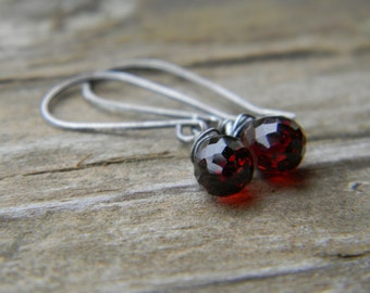 merlot - simple garnet earrings - oxidized silver