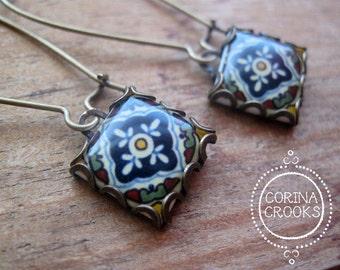 Ethnic earrings, Ethnic jewelry, Dangle earrings, Talavera pottery design tile jewelry, folk art earrings, Native American, Tribal, Mexican