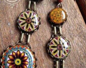 Italian pottery design earrings, Spaghetti Western, dangle earrings, Western fashion, long earrings, Bohemian jewelry, ethnic earrings
