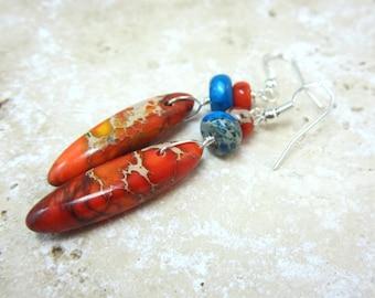 Orange and Blue Jasper Earrings, Dyed Jasper Earrings, Under 20, Fall Earrings, Drop Earrings,