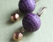 Nora Earrings - Brass - Plastic Carved Beads - Boho Chic