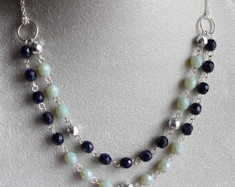Tracee Necklace - Glass Beads - Double Strand - Sterling Silver