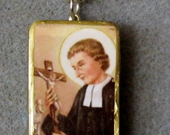 St. Louis de Montfort Catholic Art Recycled Domino Necklace L2