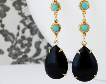 Black Turquoise Vintage Art Deco Rhinestone Earrings