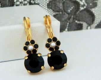 SALE...Jet Black Swarovski Pearl Flower Drop Leverback Earrings