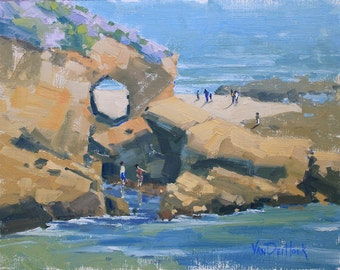 Wading By the Keyhole - 11 x 14 Inch Original Oil Painting of Laguna Beach - Laguna Beach Painting - Living Room Art - Wall Decor