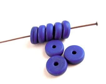 40 Navy Blue Matte, Czech Glass Spacer Beads, 8mm, Dark Blue Czech Beads, 3x8mm, Deep Blue, Glass Spacers P57