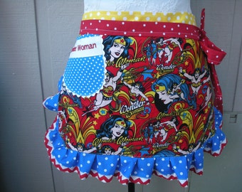 Super Girl Aprons - Women Aprons - Monogrammed Wonder Woman Aprons - Bat Girl - Super Girl Apron - Superwomen Aprons - Annies Attic Aprons
