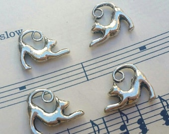 Cat Charms - 10 pc. -  Arched Cat - 3D Cat - Kitty Charms -  Antique Silver - Tibetan Charms - Animal Charms
