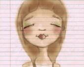 Print of my digitally enhanced sketch - Sketchbook Girl 10.4.14