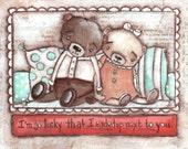 Print of my Original Folk ARt  Valentine Love Painting - Lucky Bears- by Diane Duda